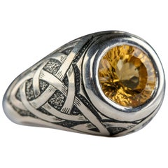 Citrine Ring Heavy Hand Carved Silver Massive Statement Ring