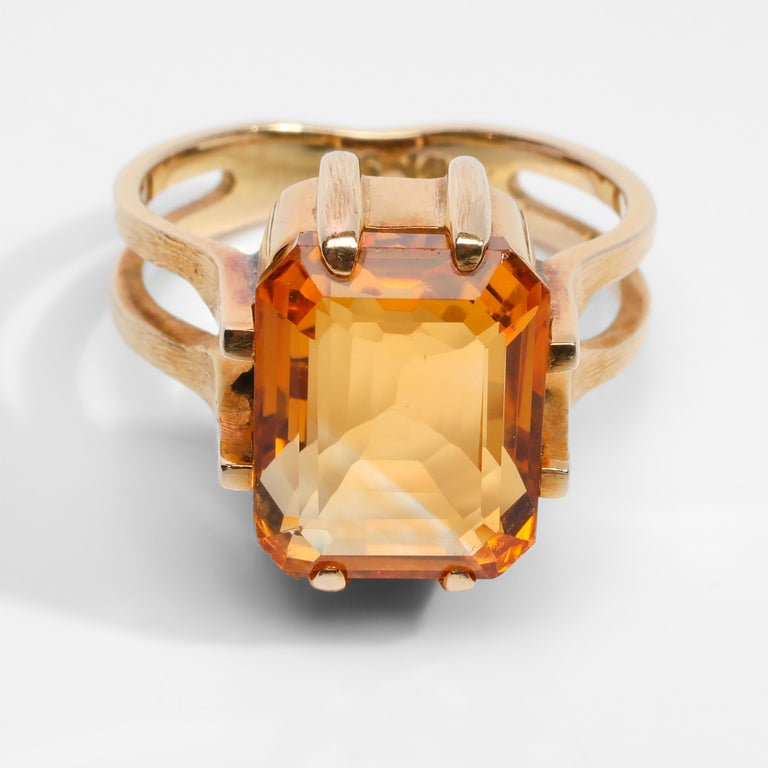 Citrine Ring of Superior Quality and Depth Midcentury For Sale 6