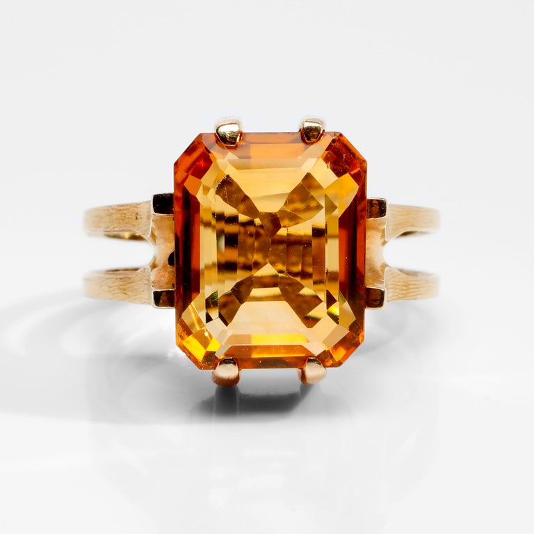 Modernist Citrine Ring of Superior Quality and Depth Midcentury For Sale