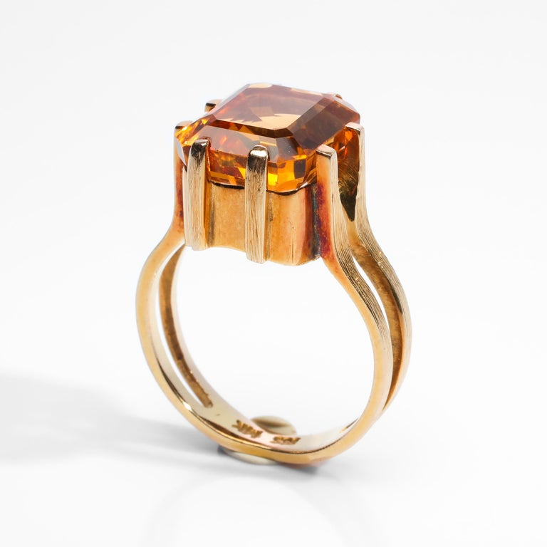 Citrine Ring of Superior Quality and Depth Midcentury For Sale 3