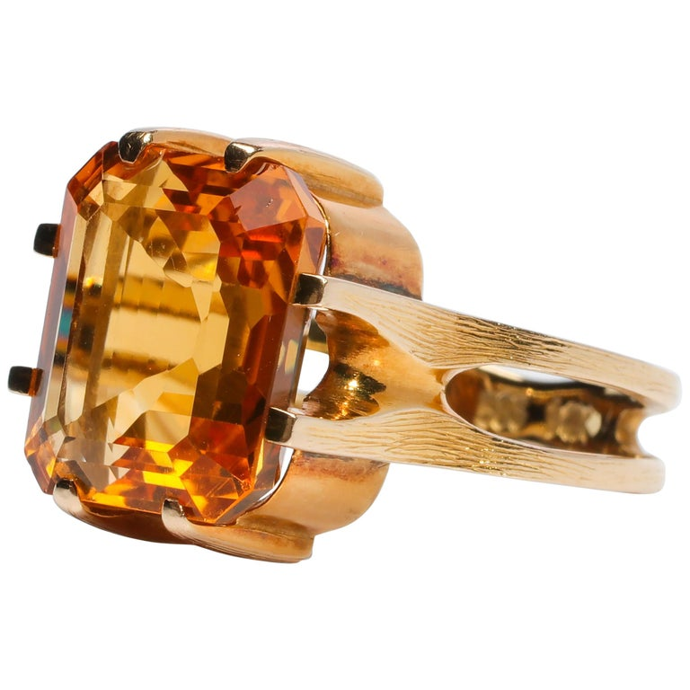 Citrine Ring of Superior Quality and Depth Midcentury For Sale