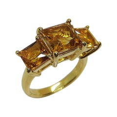 Citrine Ring Set in 18 Karat Gold Settings