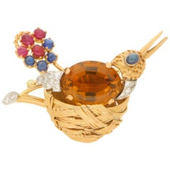 Citrine, Ruby, Sapphire and Diamond Nesting Bird Brooch Set in 18 Karat Gold