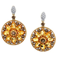 Citrine, Smokey Quartz and Diamond 14 Karat Yellow Gold Drop Earrings