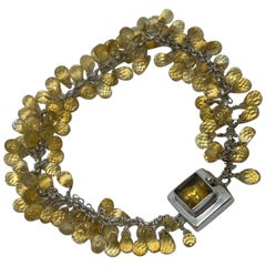 Citrine Square Cut with Briolettes in a Sterling Silver Bracelet