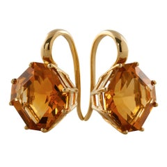 Citrine Square Emerald Cut Earrings on French Wire