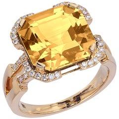 Goshwara  Emerald Cut Citrine Square And Diamond Ring