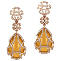 Citrine Teardrop Cage Earrings with Diamonds