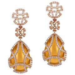 Goshwara Citrine Teardrop Cage And Diamond Earrings