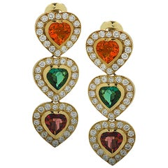 Citrine, Tourmaline and Diamond Heart Dangle Earrings