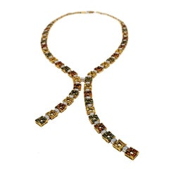 Citrine Tourmaline Diamond and Gold Lariat Necklace