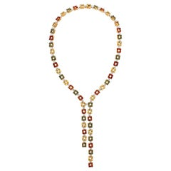 Citrine Tourmaline Diamond Gold Lariat Necklace