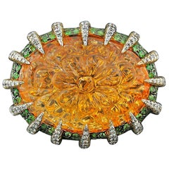 Citrine, Tsavorite and Diamond Ring by Tony Duquette