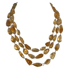 Citrine Tumbled Multistrand Necklace in Sterling Silver
