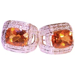 Citrine White Diamond Earrings 18 Karat White Gold