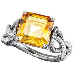 Citrine White Diamond Platinum Silver Rhodium Engagement Cocktail Ring