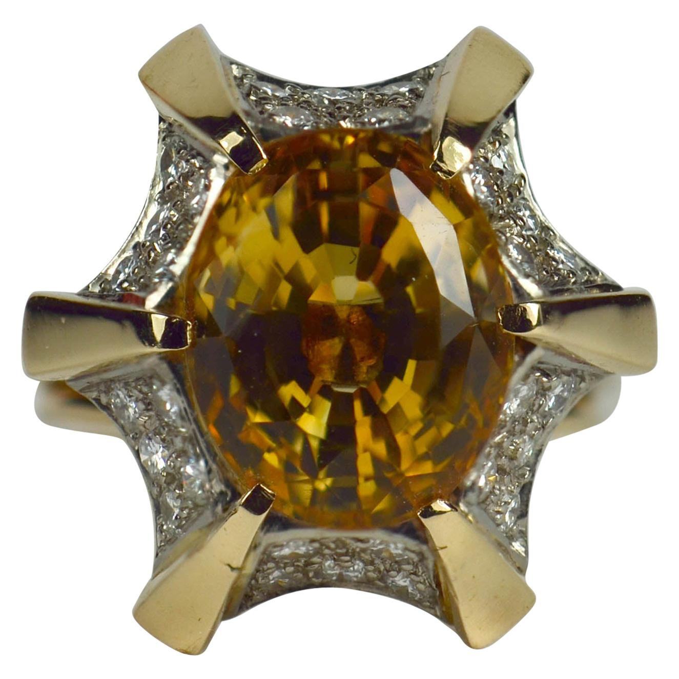Citrine White Diamond Yellow Gold Cocktail Ring