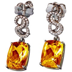 Citrine White Diamonds Platin Earrings