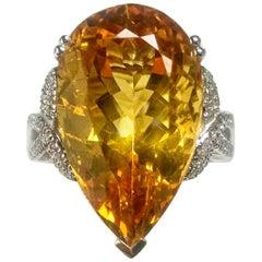 Citrine White Gold Cocktail Ring