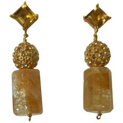 Citrine White Topaz 14K Gold Plated on 925 Sterling Silver Earrings