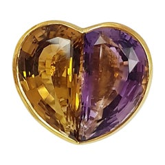 Citrine with Amethyst Heart Ring set in 18 Karat Gold Settings