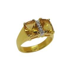 Citrine with Diamond Ring Set in 18 Karat Gold Settings