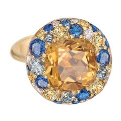Citrine Yellow and Blue Sapphire 18 Karat Gold Three-Stone Designer Diamond Ring