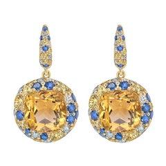 Citrine Yellow/ Blue Sapphire 18 Karat Gold Three-Stone Designer Diamond Earring