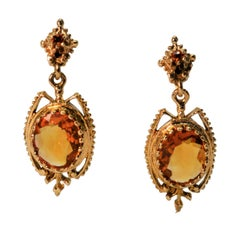 Citrine Yellow Gold Antique Style Drop Earrings