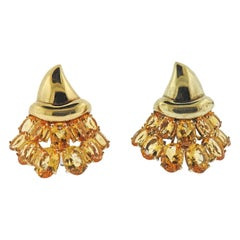Citrine Yellow Gold Cocktail Earrings