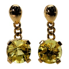Citrine Yellow Gold Drop Earrings