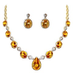 Citrine Yellow Gold Necklace Earrings Set