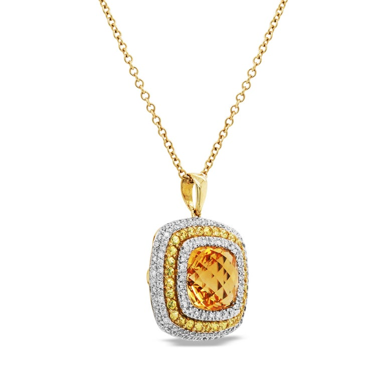Citrine Yellow Sapphire and Diamond Pendant Necklace with Chain In New Condition For Sale In Boca Raton, FL