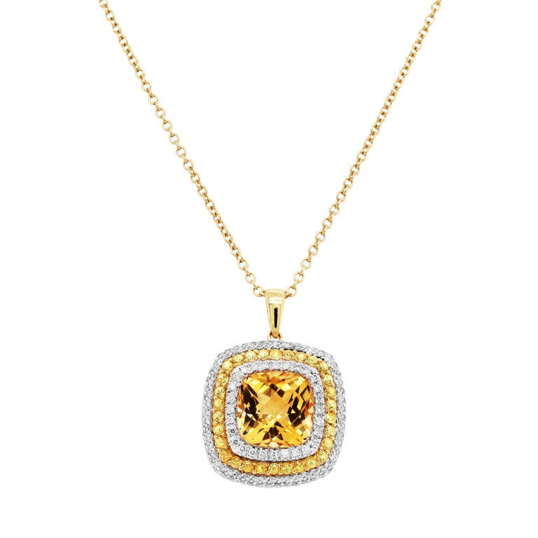 Women's Citrine Yellow Sapphire and Diamond Pendant Necklace with Chain For Sale