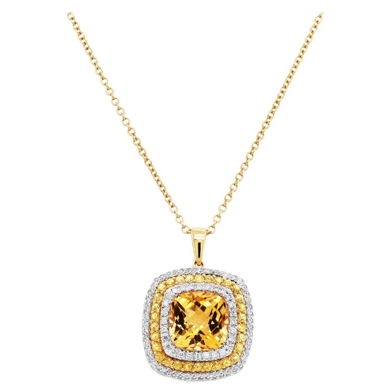 Citrine Yellow Sapphire and Diamond Pendant Necklace with Chain For Sale