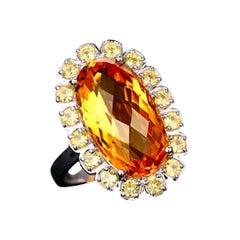 Citrine Yellow Sapphire Ring 14 Karat White Gold