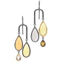 Citrine,Lemon Quartz, Moonstone, Rock Crystal Sterling Silver/ 18K Gold Earrings