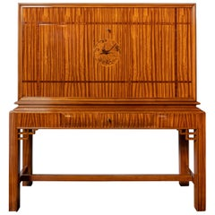 Citronnier Wood and Marquetry Secretaire by Englander & Bonta, Argentina, 1950