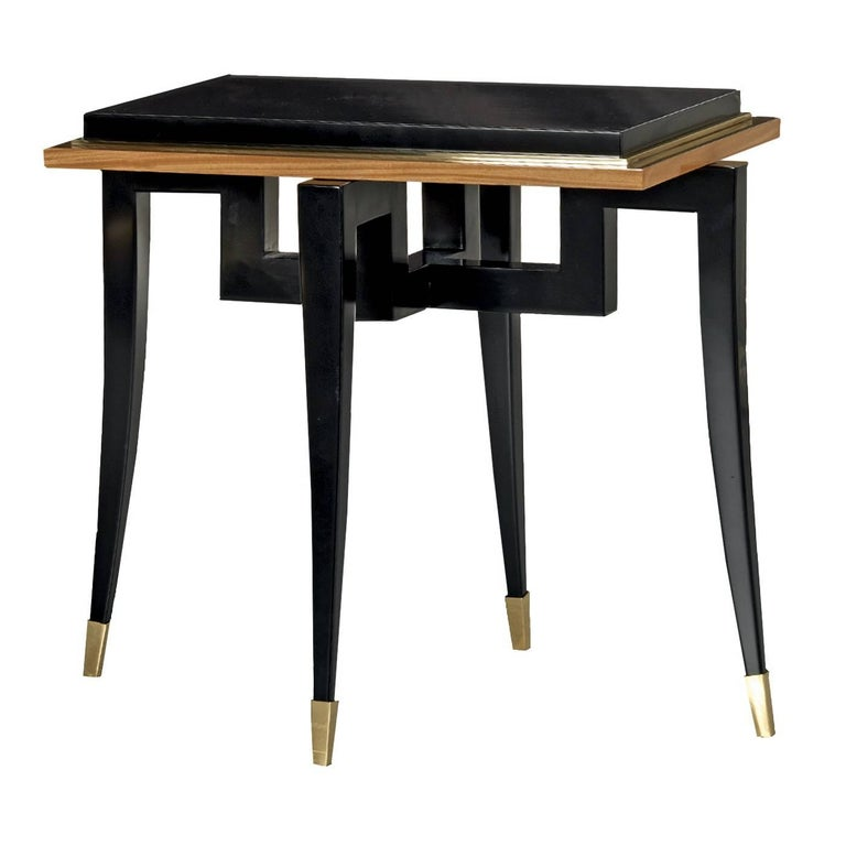 Citronnier Wood Side Table with Black Finish For Sale
