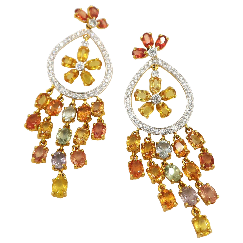 Citrus Sicily Yellow Orange Sapphire Diamond Dangle Earrings in 18K Yellow Gold