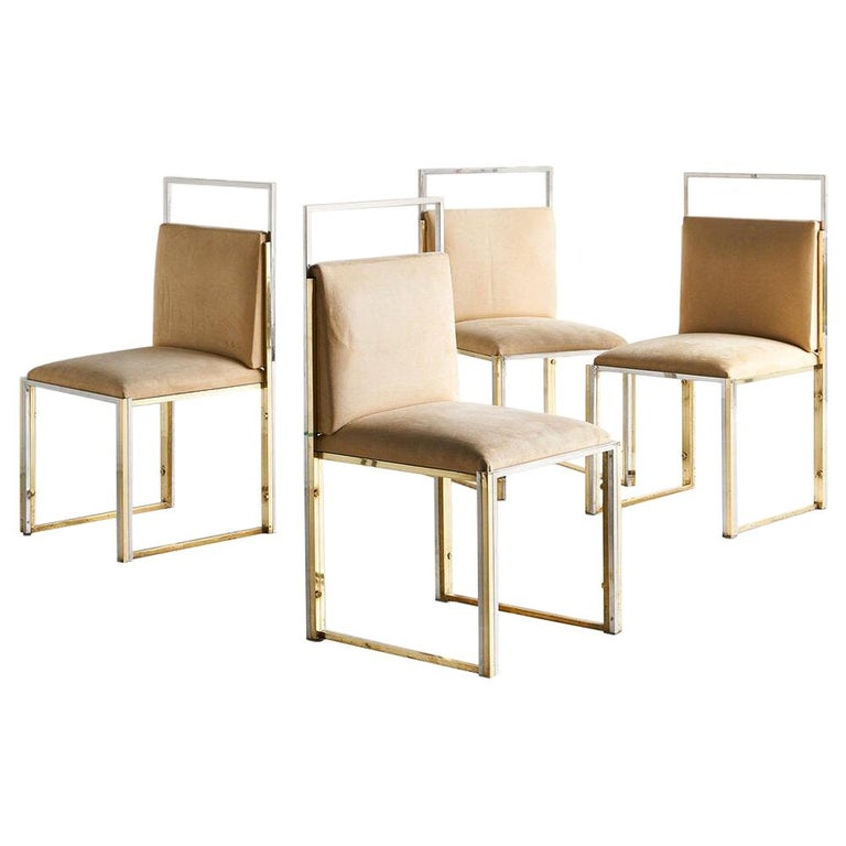 Cittone Oggi Brass and Chrome Dining Chairs, Set of 4 For Sale