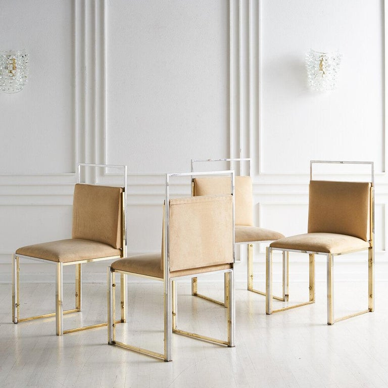 Modern Cittone Oggi Brass and Chrome Dining Chairs, Set of 4 For Sale