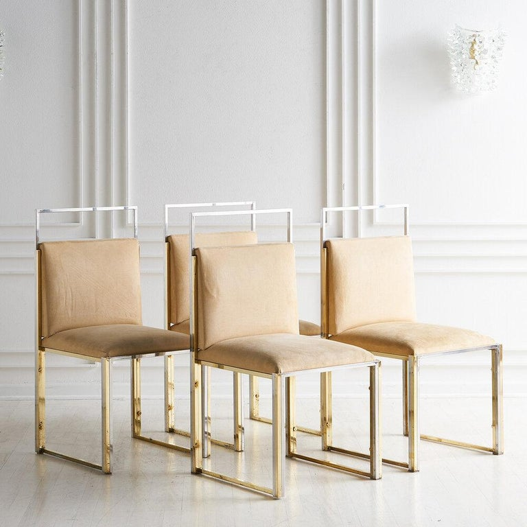 Cittone Oggi Brass and Chrome Dining Chairs, Set of 4 In Good Condition For Sale In Chicago, IL
