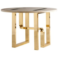 Cittone Oggi Travertine and Brass Inlay Dining Table