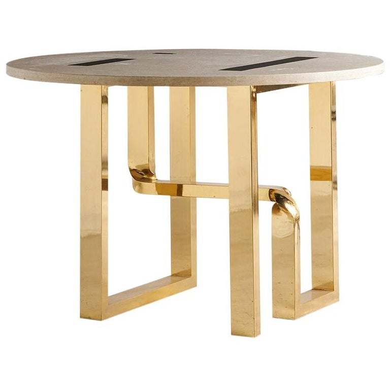 Cittone Oggi Travertine and Brass Inlay Dining Table For Sale
