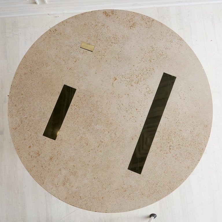 Mid-Century Modern Cittone Oggi Travertine and Brass Inlay Dining Table For Sale