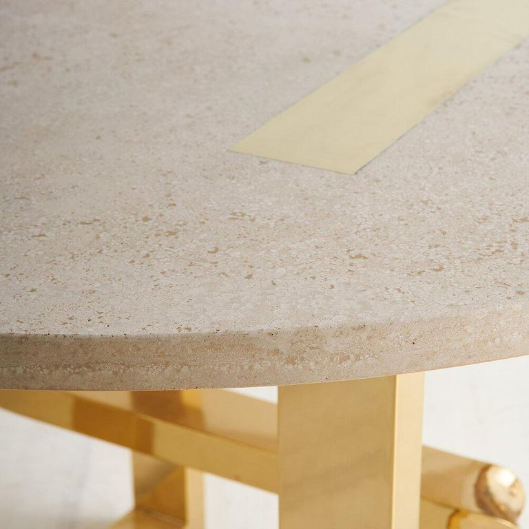 Italian Cittone Oggi Travertine and Brass Inlay Dining Table For Sale