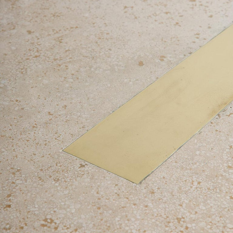 Cittone Oggi Travertine and Brass Inlay Dining Table In Good Condition For Sale In Chicago, IL