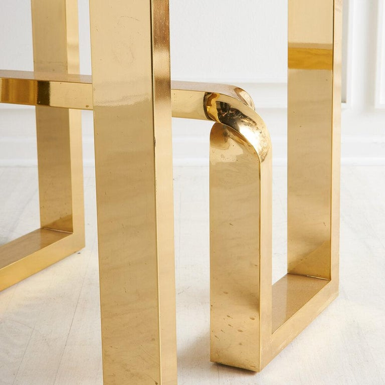 Cittone Oggi Travertine and Brass Inlay Dining Table For Sale 2
