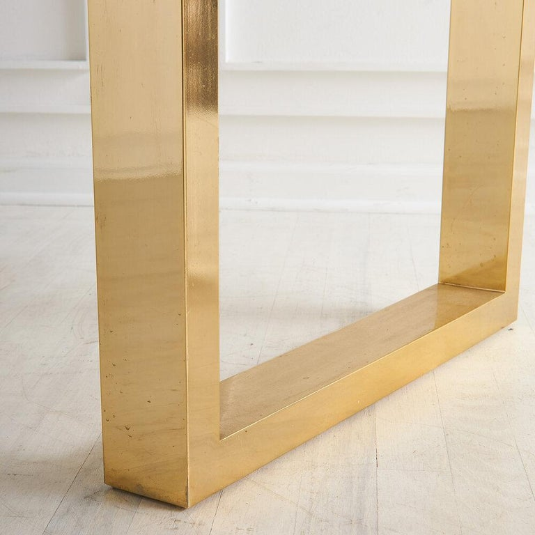 Cittone Oggi Travertine and Brass Inlay Dining Table For Sale 3